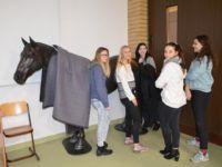 Zdjęcie przedstawiające uczennice z figurą konia